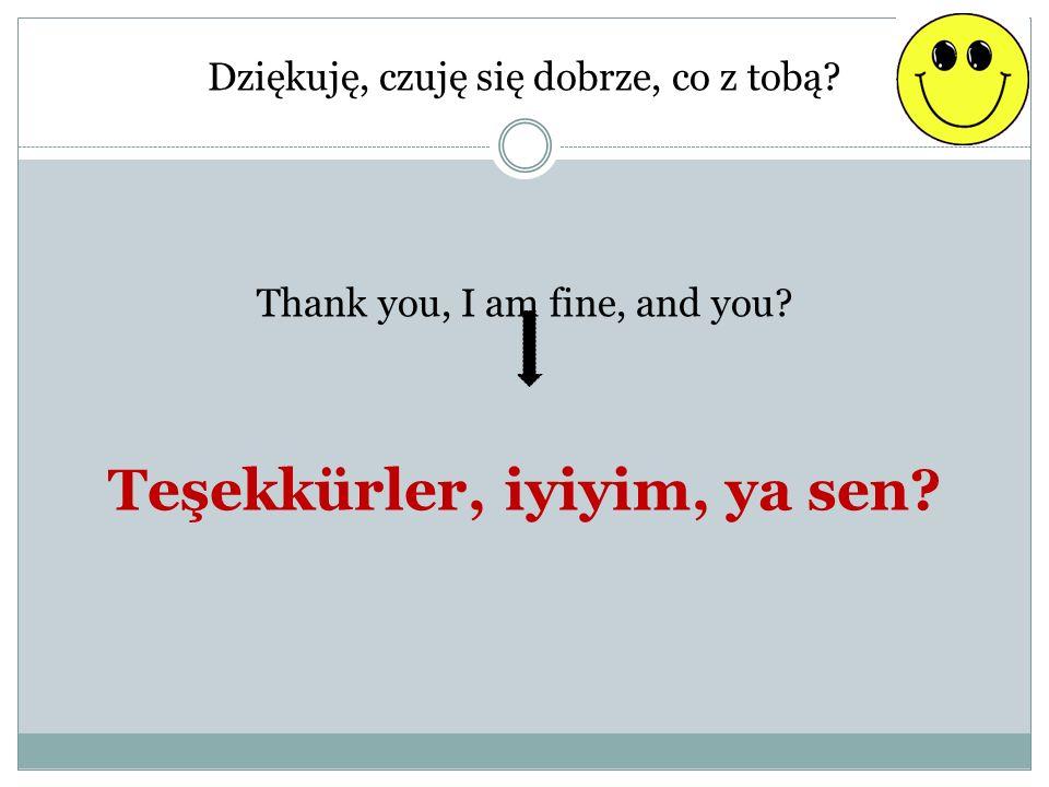 Dziękuję, czuję się dobrze, co z tobą? Thank you, I am fine, and you? Teşekkürler, iyiyim, ya sen?