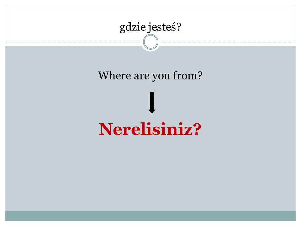 gdzie jesteś? Where are you from? Nerelisiniz?