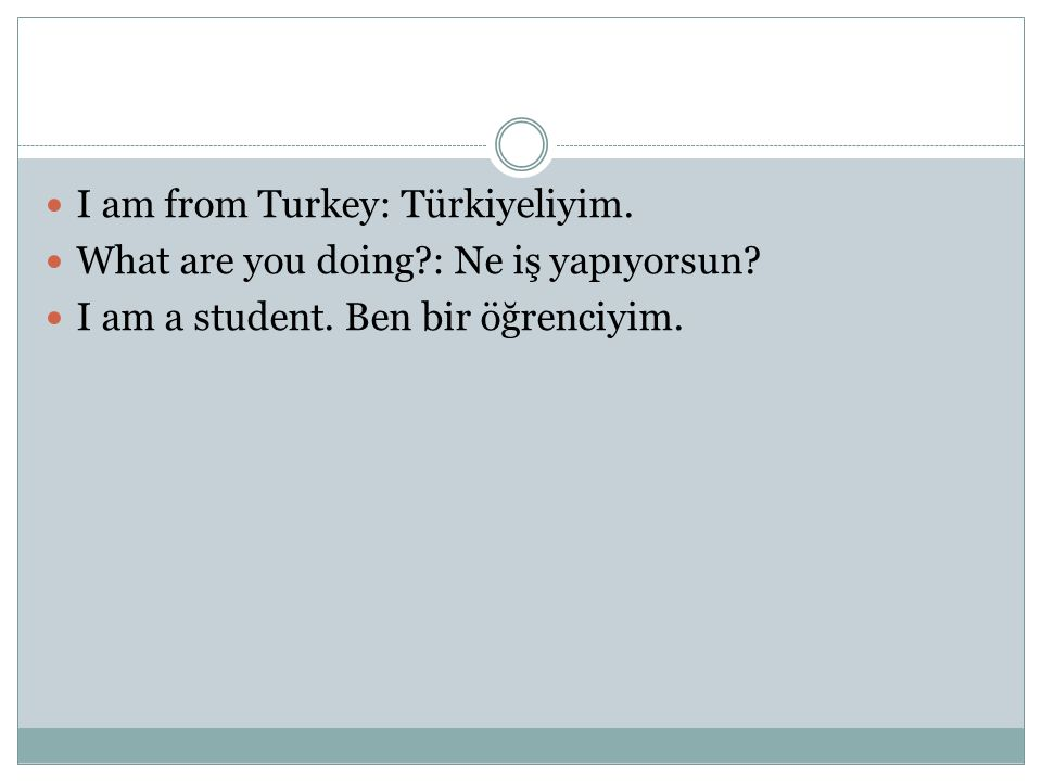 I am from Turkey: Türkiyeliyim. What are you doing?: Ne iş yapıyorsun? I am a student. Ben bir öğrenciyim.