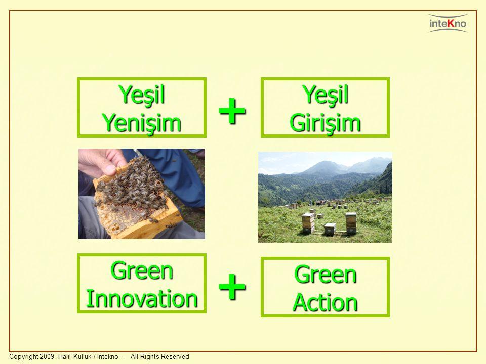 Copyright 2009, Halil Kulluk / Intekno - All Rights Reserved Green Innovation Green Action + Yeşil Yenişim Yeşil Girişim +