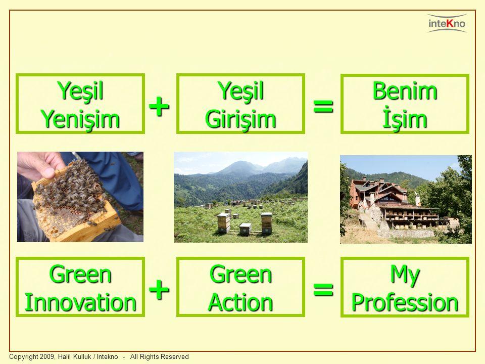 Copyright 2009, Halil Kulluk / Intekno - All Rights Reserved Yeşil Yenişim Yeşil Girişim Benim İşim += Green Innovation Green Action My Profession +=