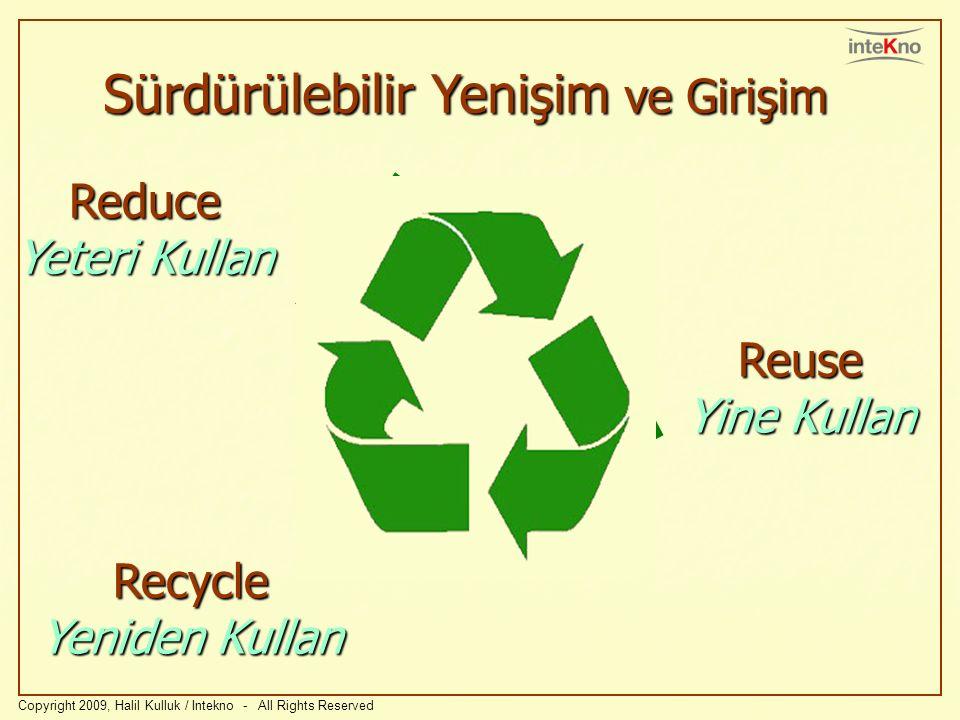 Copyright 2009, Halil Kulluk / Intekno - All Rights Reserved Recycle Yeniden Kullan Reuse Yine Kullan Sürdürülebilir Yenişim ve Girişim Reduce Yeteri Kullan