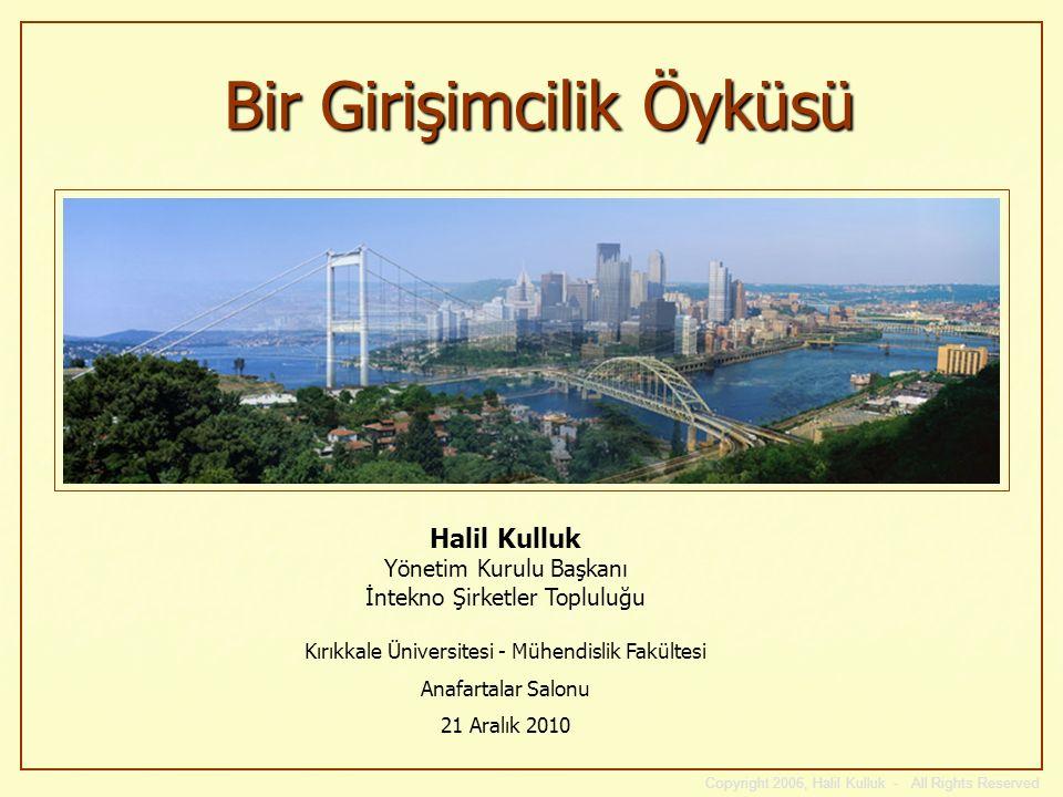 Copyright 2006, Halil Kulluk - All Rights Reserved Bir Girişimcilik Öyküsü Halil Kulluk Yönetim Kurulu Başkanı İntekno Şirketler Topluluğu Kırıkkale Ü