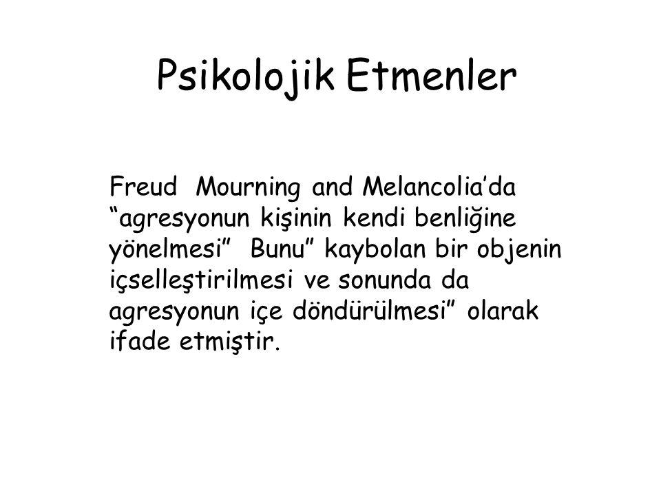 Psikolojik Etmenler Freud Mourning and Melancoliadaagresyonun kişinin kendi benliğine yönelmesi Bunu kaybolan bir objenin içselleştirilmesi ve sonunda