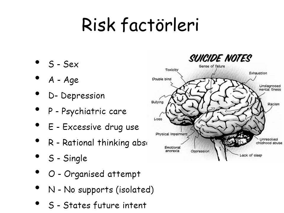 Risk factörleri S - Sex A - Age D- Depression P - Psychiatric care E - Excessive drug use R - Rational thinking absent S - Single O - Organised attemp