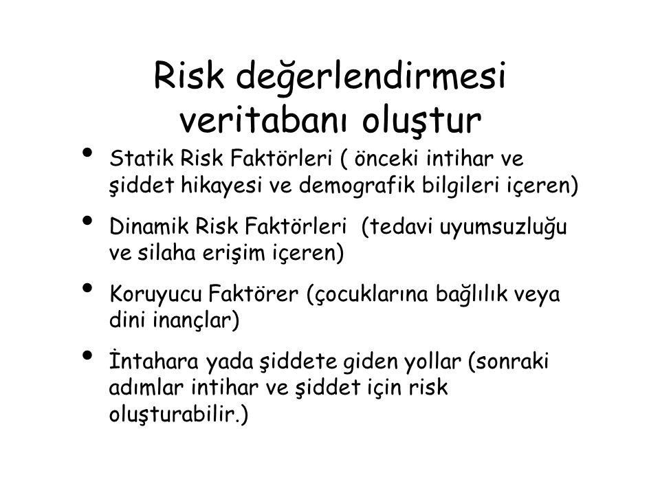 Risk değerlendirmesi veritabanı oluştur Statik Risk Faktörleri ( önceki intihar ve şiddet hikayesi ve demografik bilgileri içeren) Dinamik Risk Faktör