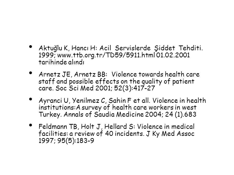 Aktuğlu K, Hancı H: Acil Servislerde Şiddet Tehditi. 1999; www.ttb.org.tr/TD59/5911.html 01.02.2001 tarihinde alındı Arnetz JE, Arnetz BB: Violence to