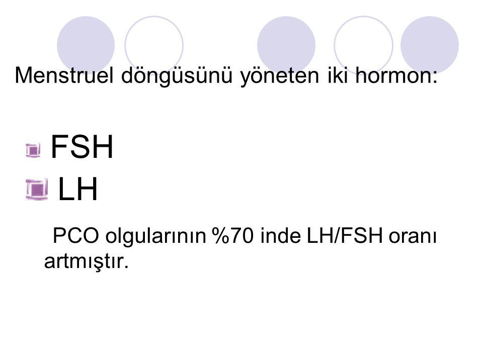 Menstruel döngüsünü yöneten iki hormon: FSH LH PCO olgularının %70 inde LH/FSH oranı artmıştır.
