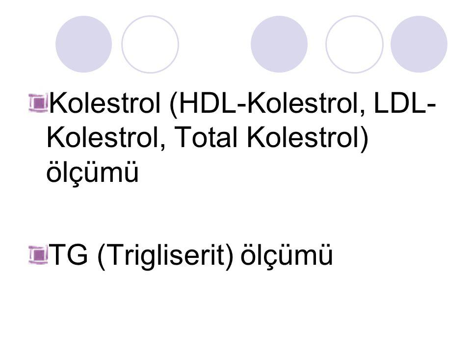 Kolestrol (HDL-Kolestrol, LDL- Kolestrol, Total Kolestrol) ölçümü TG (Trigliserit) ölçümü