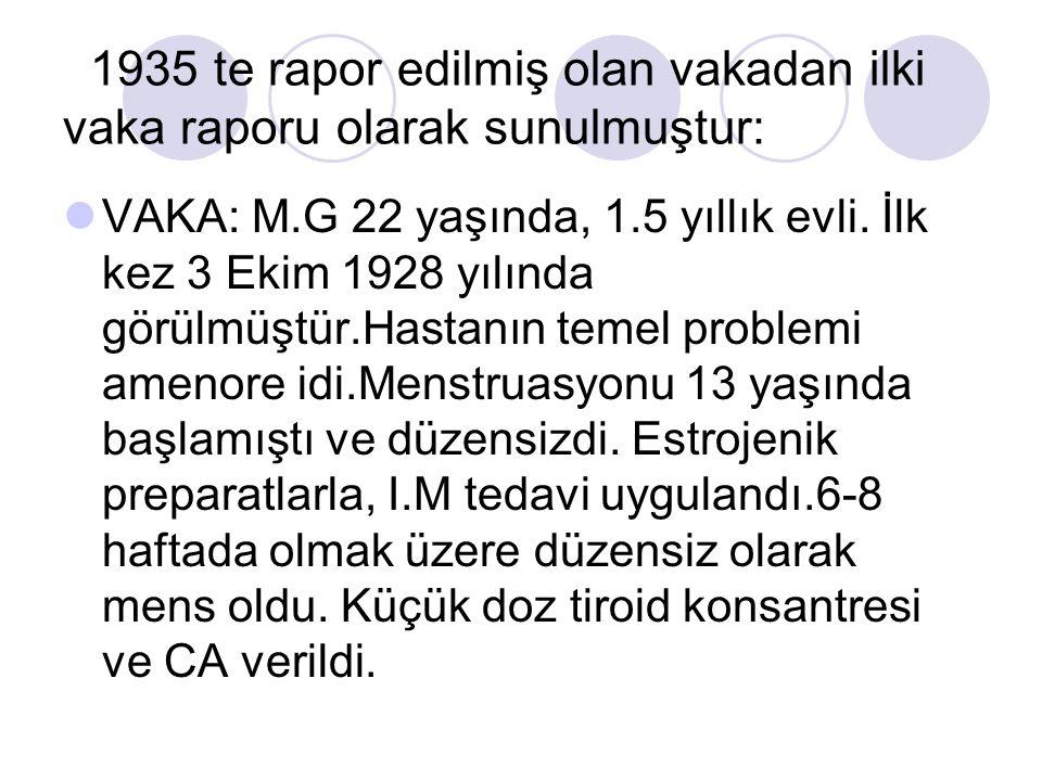 1935 te rapor edilmiş olan vakadan ilki vaka raporu olarak sunulmuştur: VAKA: M.G 22 yaşında, 1.5 yıllık evli. İlk kez 3 Ekim 1928 yılında görülmüştür