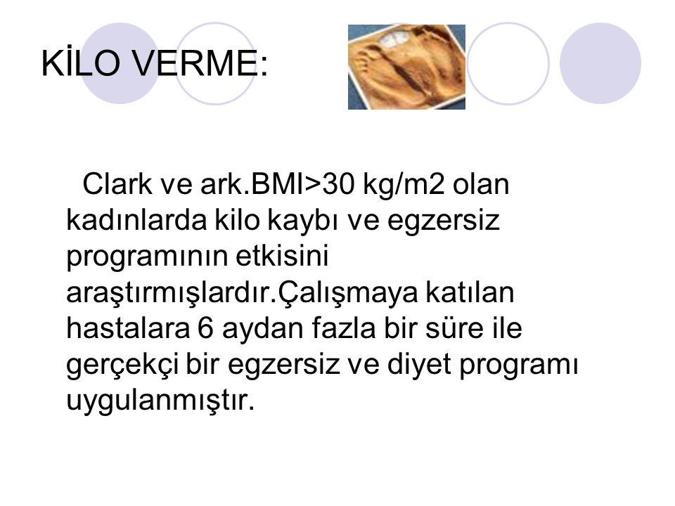 KİLO VERME: Clark ve ark.BMI>30 kg/m2 olan kadınlarda kilo kaybı ve egzersiz programının etkisini araştırmışlardır.Çalışmaya katılan hastalara 6 aydan