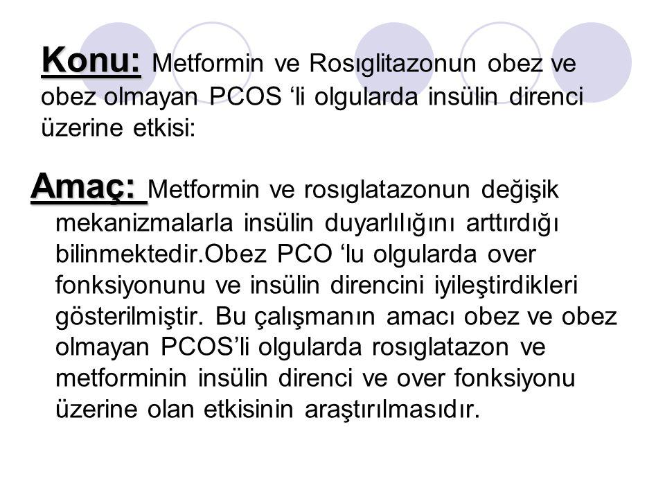 Konu: Konu: Metformin ve Rosıglitazonun obez ve obez olmayan PCOS li olgularda insülin direnci üzerine etkisi: Amaç: Amaç: Metformin ve rosıglatazonun