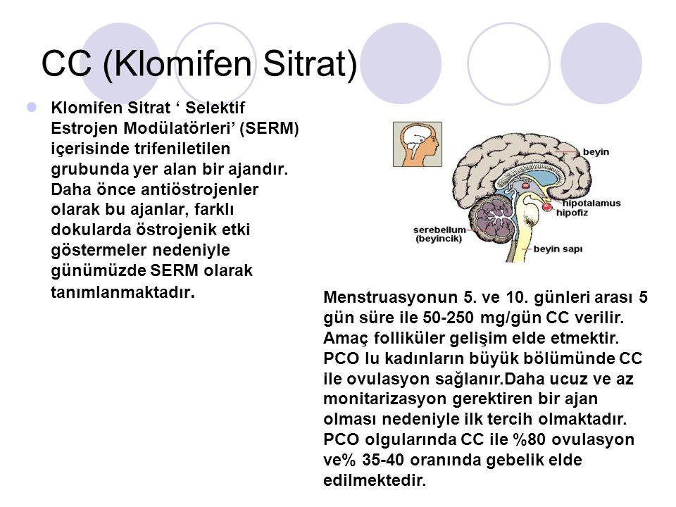 CC (Klomifen Sitrat) Klomifen Sitrat Selektif Estrojen Modülatörleri (SERM) içerisinde trifeniletilen grubunda yer alan bir ajandır. Daha önce antiöst
