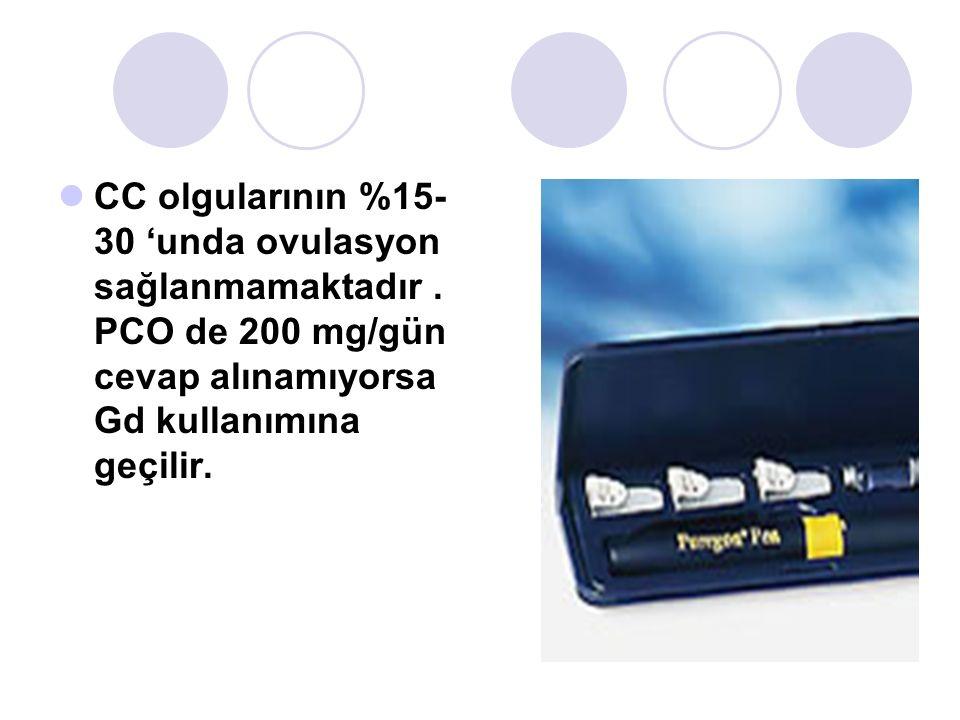 CC olgularının %15- 30 unda ovulasyon sağlanmamaktadır. PCO de 200 mg/gün cevap alınamıyorsa Gd kullanımına geçilir.