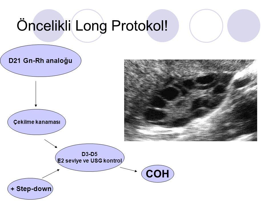 Öncelikli Long Protokol! D21 Gn-Rh analoğu Çekilme kanaması D3-D5 E2 seviye ve USG kontrol COH + Step-down