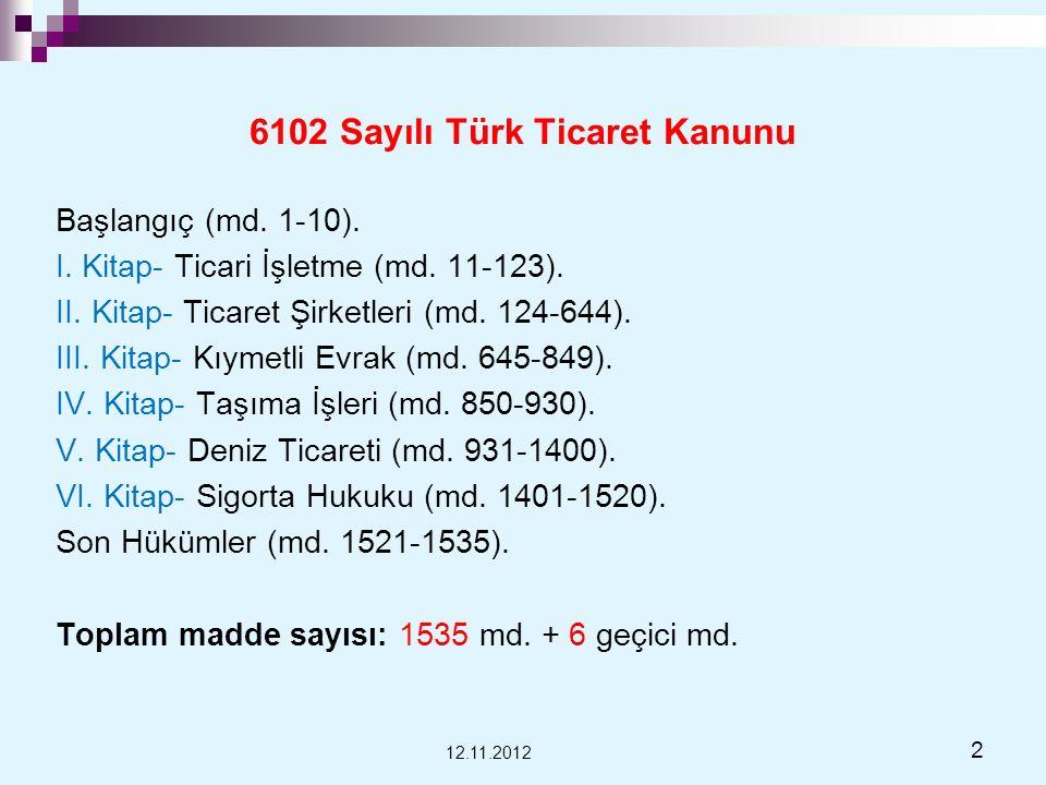 6102 Sayılı Türk Ticaret Kanunu Başlangıç (md. 1-10). I. Kitap- Ticari İşletme (md. 11-123). II. Kitap- Ticaret Şirketleri (md. 124-644). III. Kitap-