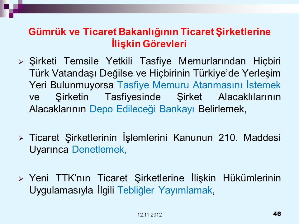 Gümrük ve Ticaret Bakanlığının Ticaret Şirketlerine İlişkin Görevleri Şirketi Temsile Yetkili Tasfiye Memurlarından Hiçbiri Türk Vatandaşı Değilse ve