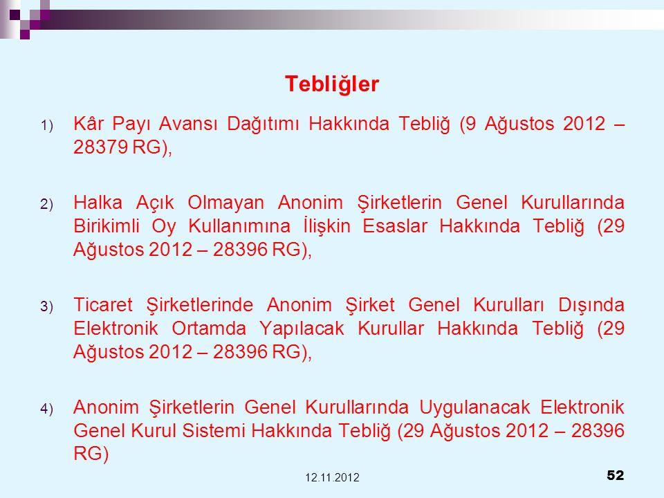 Tebliğler 1) Kâr Payı Avansı Dağıtımı Hakkında Tebliğ (9 Ağustos 2012 – 28379 RG), 2) Halka Açık Olmayan Anonim Şirketlerin Genel Kurullarında Birikim