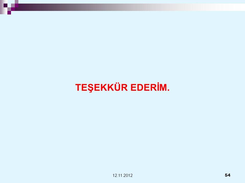 TEŞEKKÜR EDERİM. 54 12.11.2012