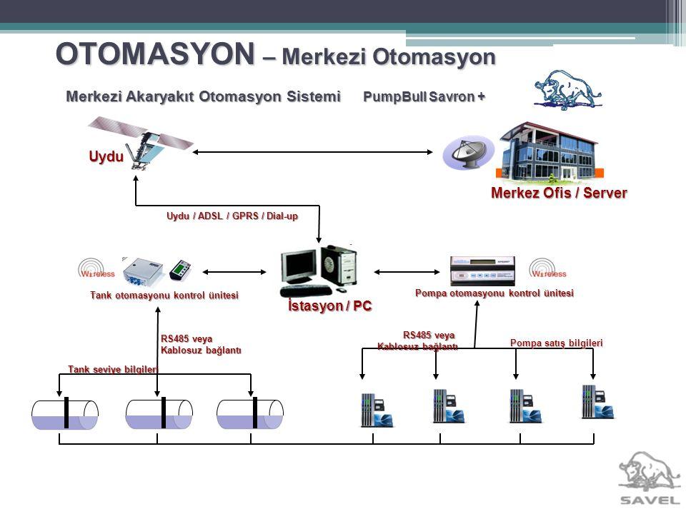 OTOMASYON – Merkezi Otomasyon Merkezi Akaryakıt Otomasyon Sistemi PumpBull Savron + Uydu Merkez Ofis / Server Uydu / ADSL / GPRS / Dial-up Pompa satış