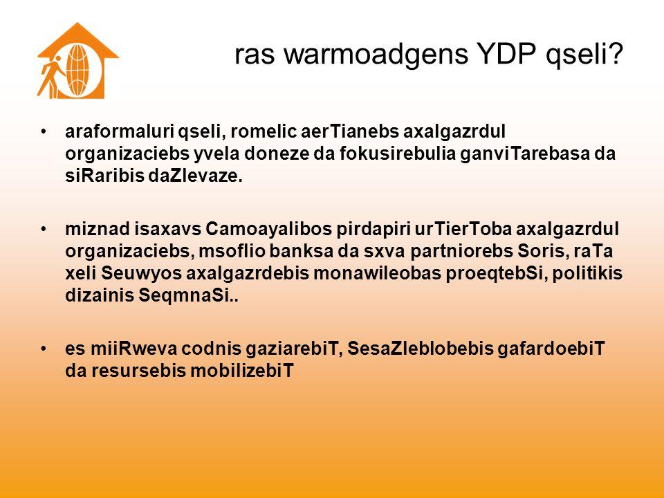 ras warmoadgens YDP qseli.