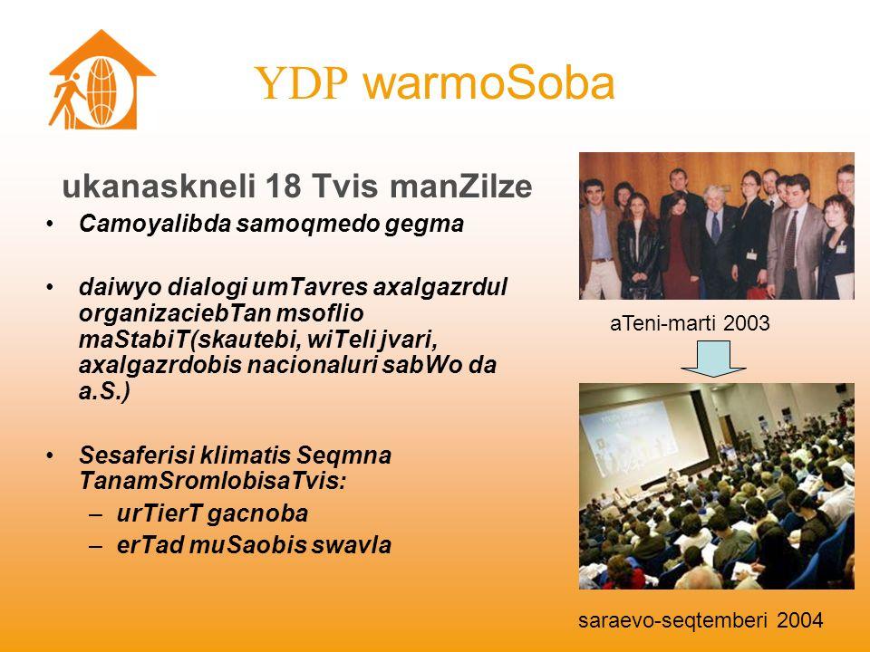 YDP warmoSoba aTeni-marti 2003 saraevo-seqtemberi 2004 ukanaskneli 18 Tvis manZilze Camoyalibda samoqmedo gegma daiwyo dialogi umTavres axalgazrdul or