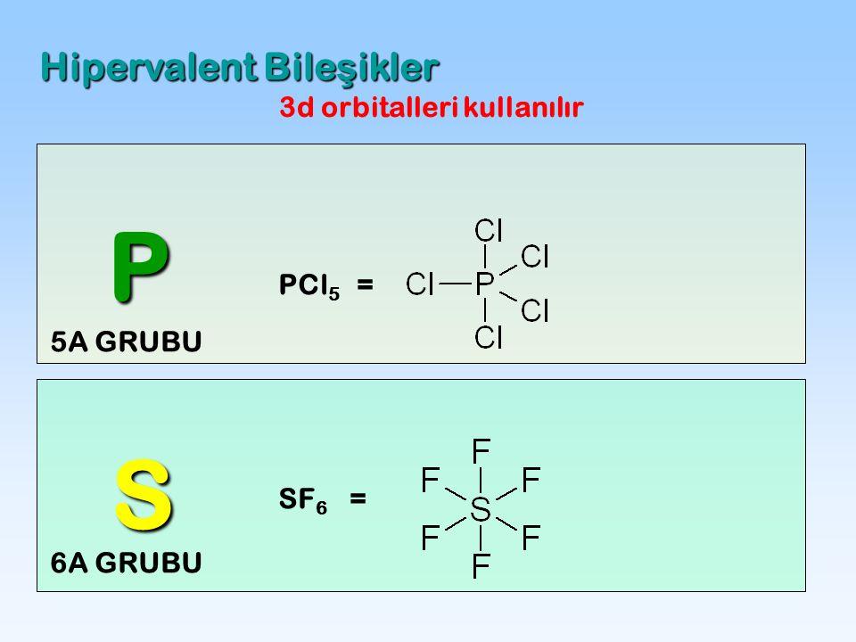 P S PCl 5 SF 6 = = 3d orbitalleri kullanılır Hipervalent Bile ş ikler 5A GRUBU 6A GRUBU