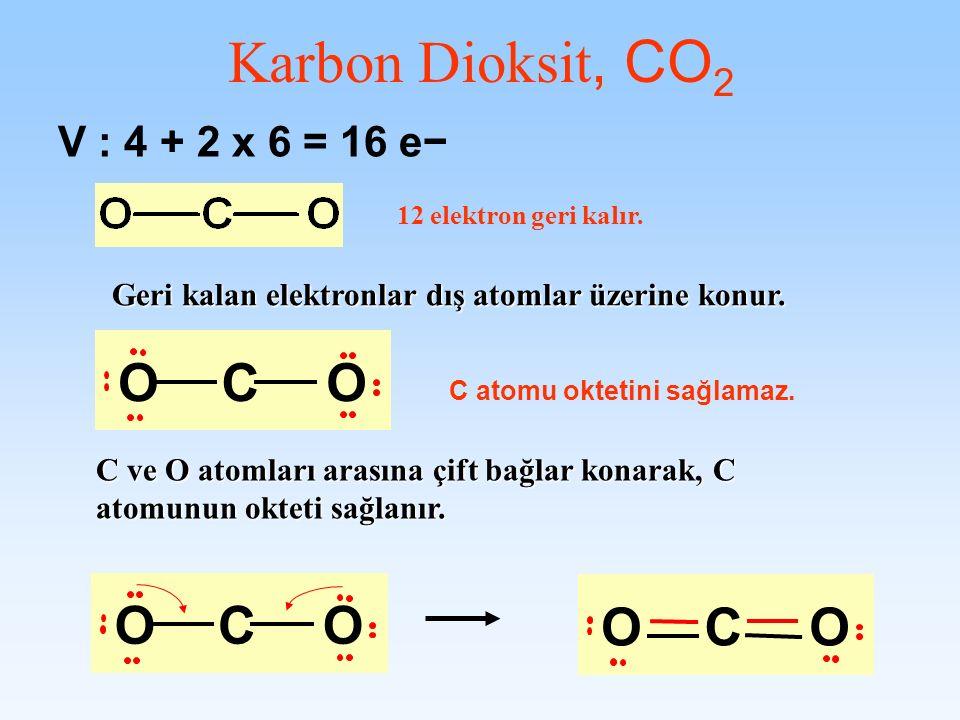 V : 4 + 2 x 6 = 16 e Geri kalan elektronlar dış atomlar üzerine konur. 12 elektron geri kalır. C ve O atomları arasına çift bağlar konarak, C atomunun