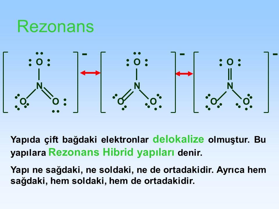Rezonans N OO O OO O NN OO O Yapıda çift bağdaki elektronlar delokalize olmuştur. Bu yapılara Rezonans Hibrid yapıları denir. Yapı ne sağdaki, ne sold