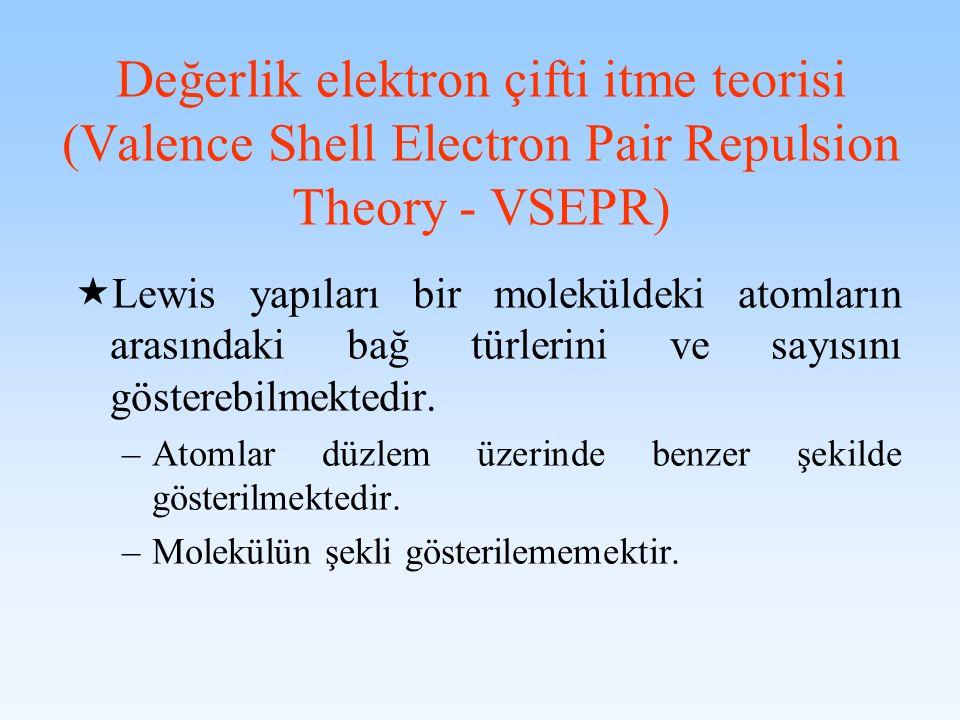 Değerlik elektron çifti itme teorisi (Valence Shell Electron Pair Repulsion Theory - VSEPR) Lewis yapıları bir moleküldeki atomların arasındaki bağ tü