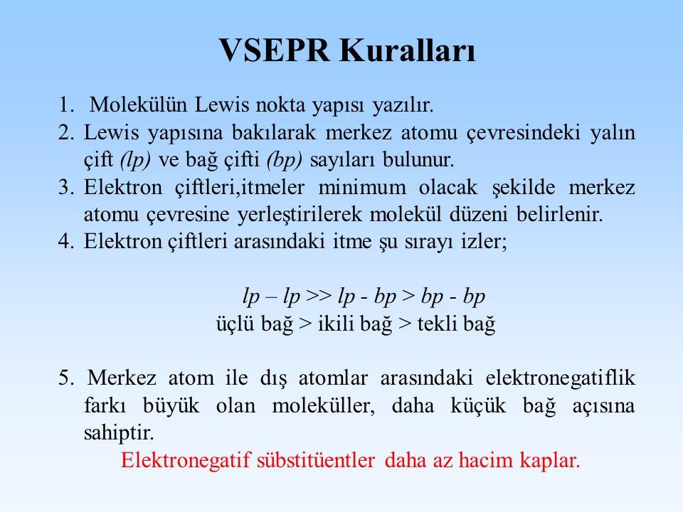 VSEPR Kuralları 1. Molekülün Lewis nokta yapısı yazılır. 2.Lewis yapısına bakılarak merkez atomu çevresindeki yalın çift (lp) ve bağ çifti (bp) sayıla