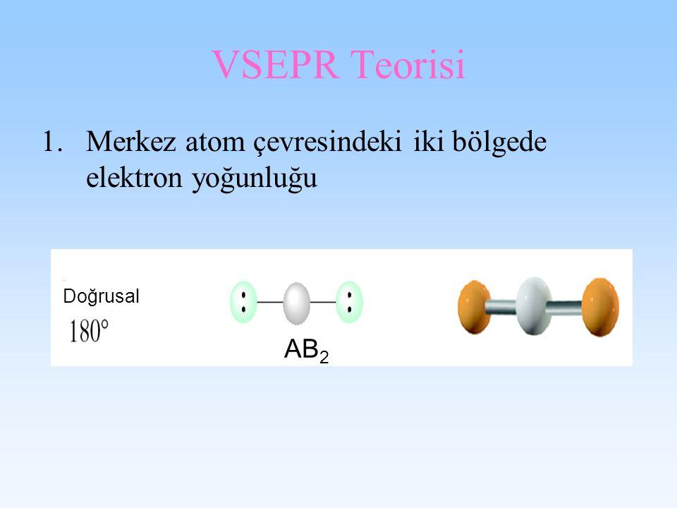 VSEPR Teorisi 1.Merkez atom çevresindeki iki bölgede elektron yoğunluğu Doğrusal AB 2