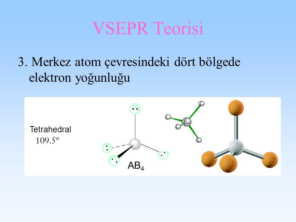 VSEPR Teorisi 3. Merkez atom çevresindeki dört bölgede elektron yoğunluğu Tetrahedral AB 4