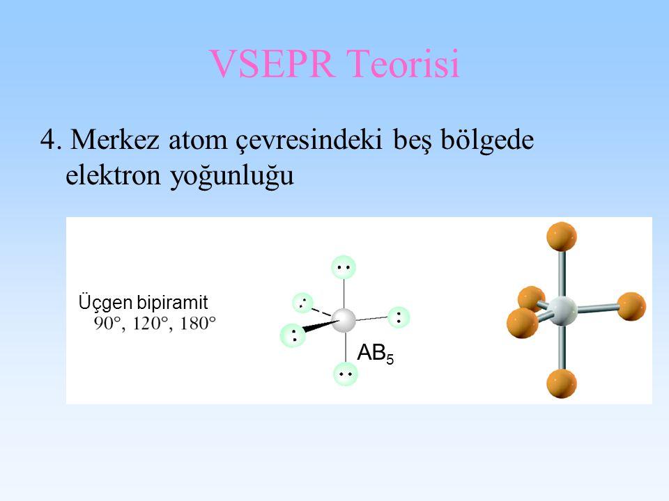 VSEPR Teorisi 4. Merkez atom çevresindeki beş bölgede elektron yoğunluğu Üçgen bipiramit AB 5