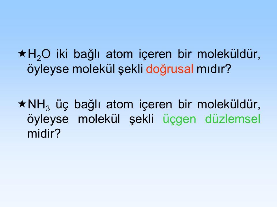 H 2 O iki bağlı atom içeren bir moleküldür, öyleyse molekül şekli doğrusal mıdır? NH 3 üç bağlı atom içeren bir moleküldür, öyleyse molekül şekli üçge