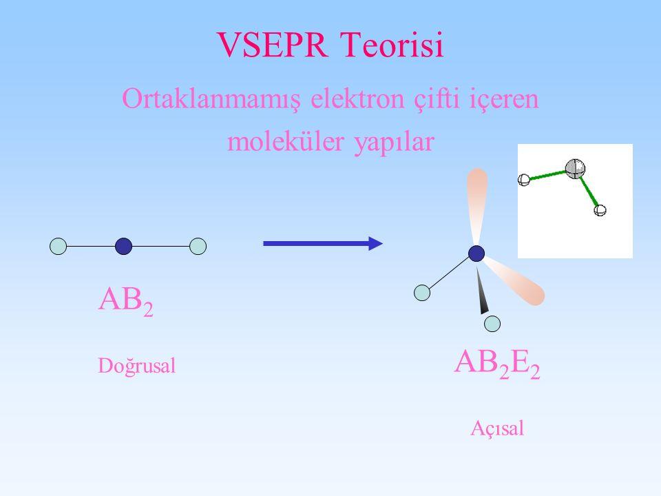 VSEPR Teorisi Ortaklanmamış elektron çifti içeren moleküler yapılar AB 2 E 2 Açısal AB 2 Doğrusal