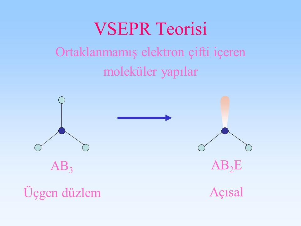 VSEPR Teorisi Ortaklanmamış elektron çifti içeren moleküler yapılar AB 3 Üçgen düzlem AB 2 E Açısal