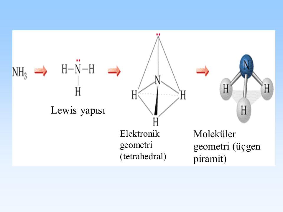 Lewis yapısı Elektronik geometri (tetrahedral) Moleküler geometri (üçgen piramit)