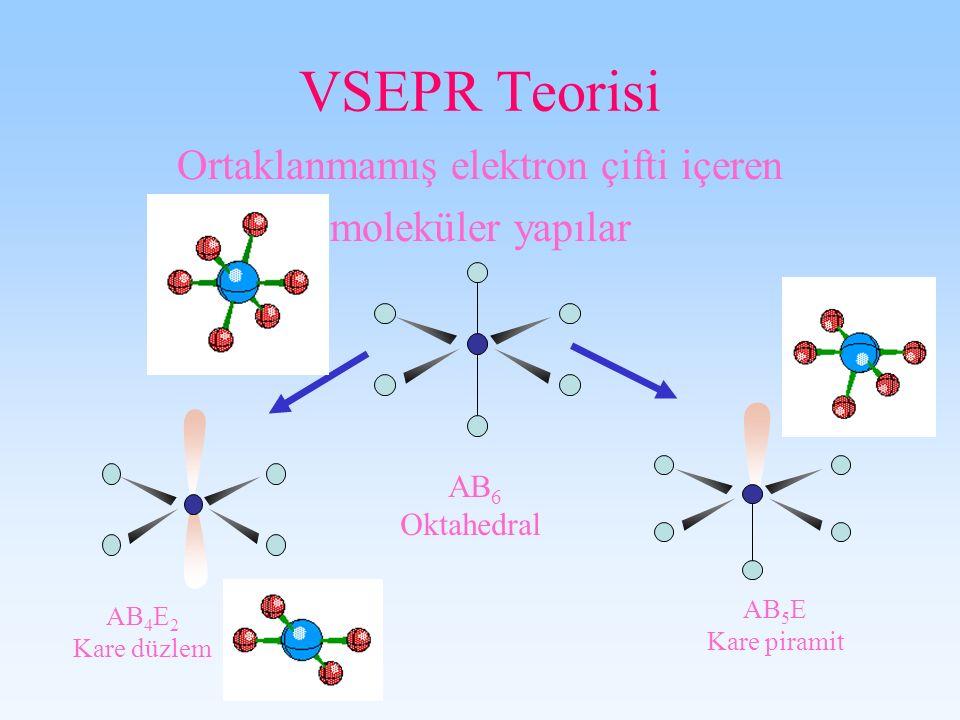 VSEPR Teorisi Ortaklanmamış elektron çifti içeren moleküler yapılar AB 6 Oktahedral AB 5 E Kare piramit AB 4 E 2 Kare düzlem