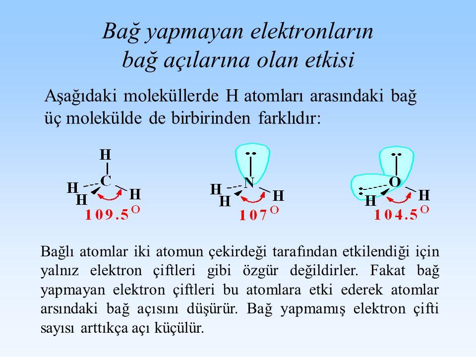 Bağ yapmayan elektronların bağ açılarına olan etkisi Bağlı atomlar iki atomun çekirdeği tarafından etkilendiği için yalnız elektron çiftleri gibi özgü
