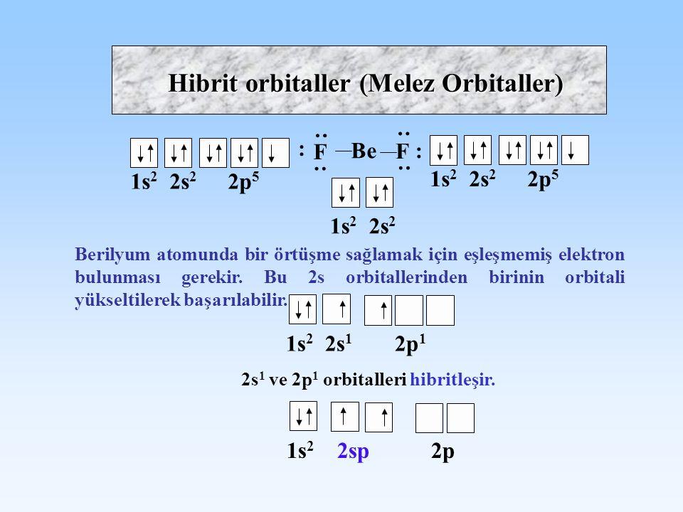 Hibrit orbitaller (Melez Orbitaller) Be F : : : F : : : 1s 2 2s 2 2p 5 1s 2 2s 2 Berilyum atomunda bir örtüşme sağlamak için eşleşmemiş elektron bulun