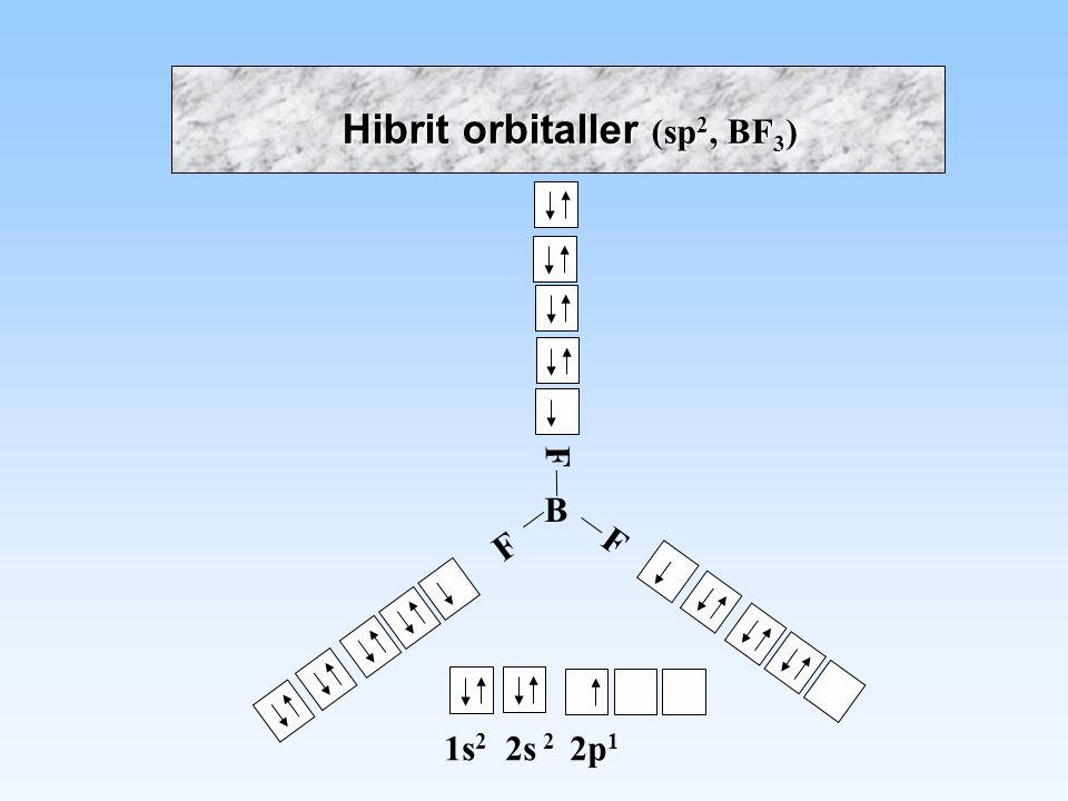 B 1s 2 2s 2 2p 1 F F F Hibrit orbitaller (sp 2, BF 3 )