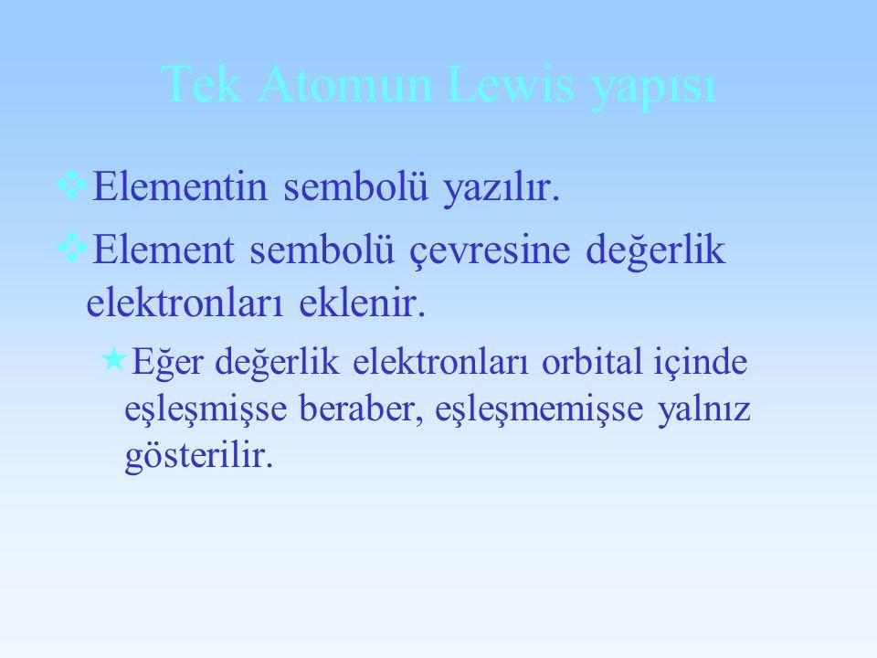 Tek Atomun Lewis yapısı Elementin sembolü yazılır. Element sembolü çevresine değerlik elektronları eklenir. Eğer değerlik elektronları orbital içinde