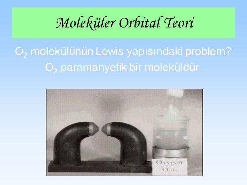 O 2 molekülünün Lewis yapısındaki problem? O 2 paramanyetik bir moleküldür. Moleküler Orbital Teori