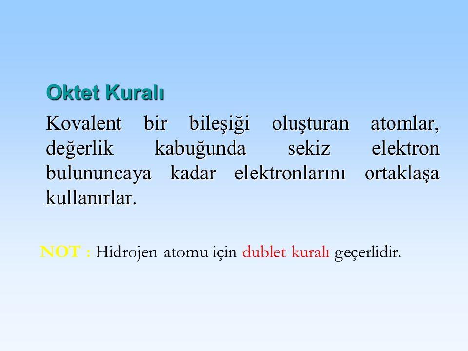 Oktet Kuralı Kovalent bir bileşiği oluşturan atomlar, değerlik kabuğunda sekiz elektron bulununcaya kadar elektronlarını ortaklaşa kullanırlar. NOT :