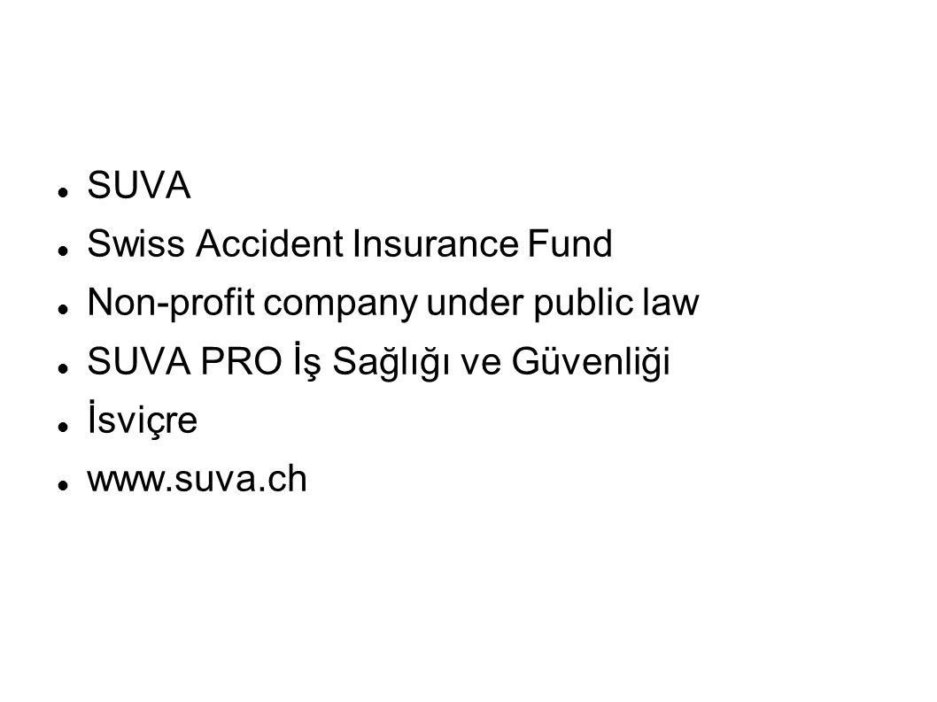 SUVA Swiss Accident Insurance Fund Non-profit company under public law SUVA PRO İş Sağlığı ve Güvenliği İsviçre www.suva.ch