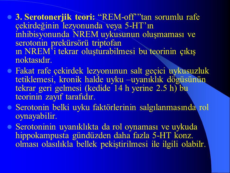 3. Serotonerjik teori: REM-offtan sorumlu rafe çekirdeğinin lezyonunda veya 5-HTın inhibisyonunda NREM uykusunun oluşmaması ve serotonin prekürsörü tr