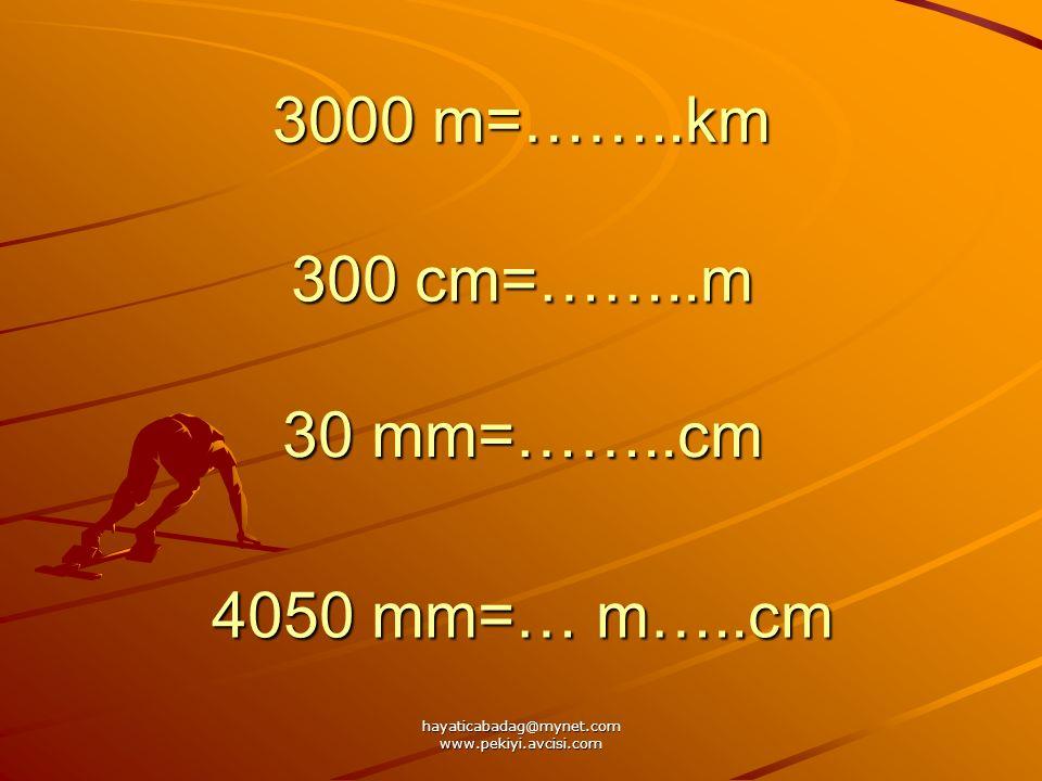 hayaticabadag@mynet.com www.pekiyi.avcisi.com 3000 m=……..km 300 cm=……..m 30 mm=……..cm 4050 mm=… m…..cm