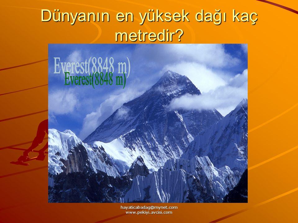 Dünyanın en yüksek dağı kaç metredir?
