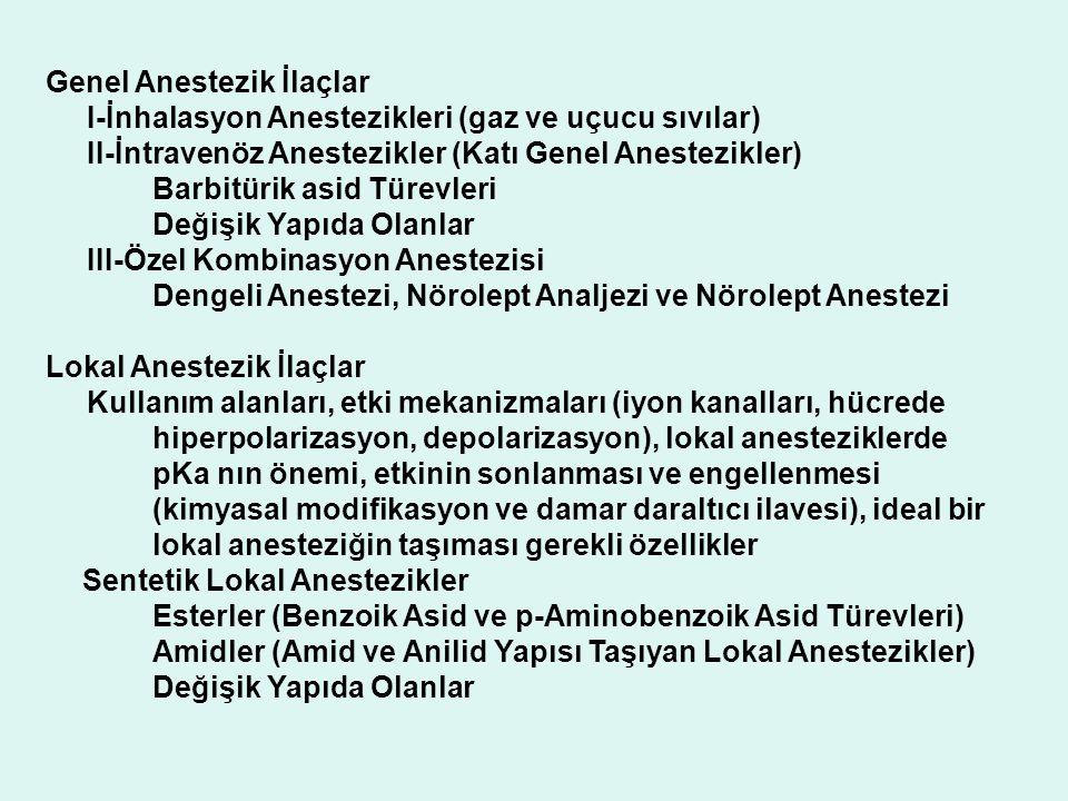 Genel Anestezik İlaçlar I-İnhalasyon Anestezikleri (gaz ve uçucu sıvılar) II-İntravenöz Anestezikler (Katı Genel Anestezikler) Barbitürik asid Türevle
